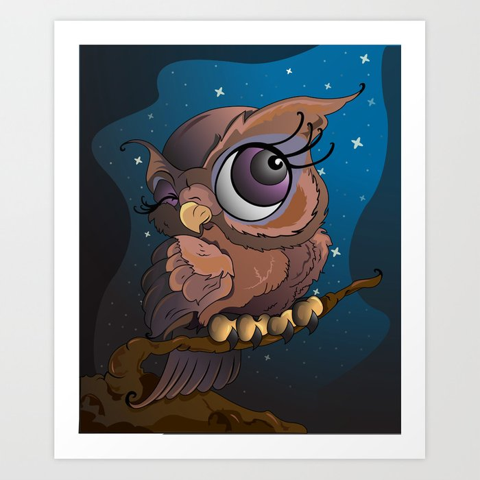 Owl at Night Art Print