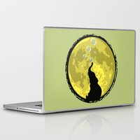 onesie Laptop & iPad Skins featuring Elephant bubbly in the moonlight by kamonkey