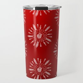 Red Aztec Ombre Pattern Travel Mug