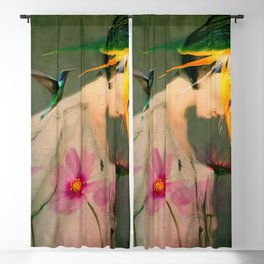 Woman between flowers / La mujer entre las flores Blackout Curtain