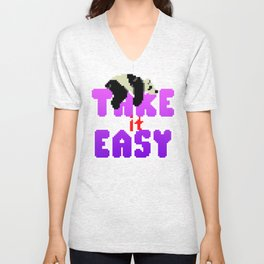 Panda Bear - Take It Easy Unisex V-Neck