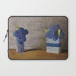 Blue Hydrangeas in Unique Chinese Vases Laptop Sleeve