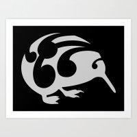 kiwi Art Prints featuring Kiwi by mailboxdisco