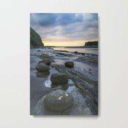 Sunset boulders along the Tongaporutu coastal walk Metal Print