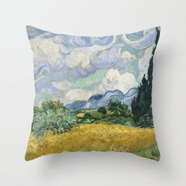 Wheat Field with Cypresses by Vincent van Gogh Throw Pillow