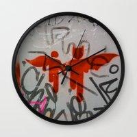 super heroes Wall Clocks featuring Super Heroes by Mauricio Santana