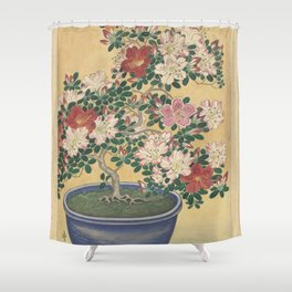 Blooming azalea in blue pot - Ohara Koson (1920 - 1930) Shower Curtain
