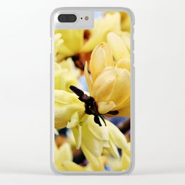 Yellow Magnolia Flowers Clear iPhone Case