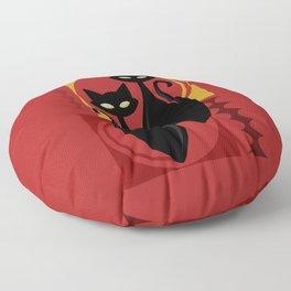 Devilishly Delightful Atomic Age Black Kitschy Cats Floor Pillow
