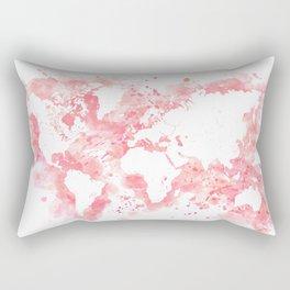 Watercolor splatters world map in pink Rectangular Pillow