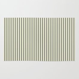 Mattress Ticking Narrow Striped Pattern in Dark Black and Beige Rug