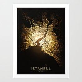 istanbul Turkey city night light map Art Print