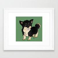 shiba inu Framed Art Prints featuring Shiba Inu by eddiesketti