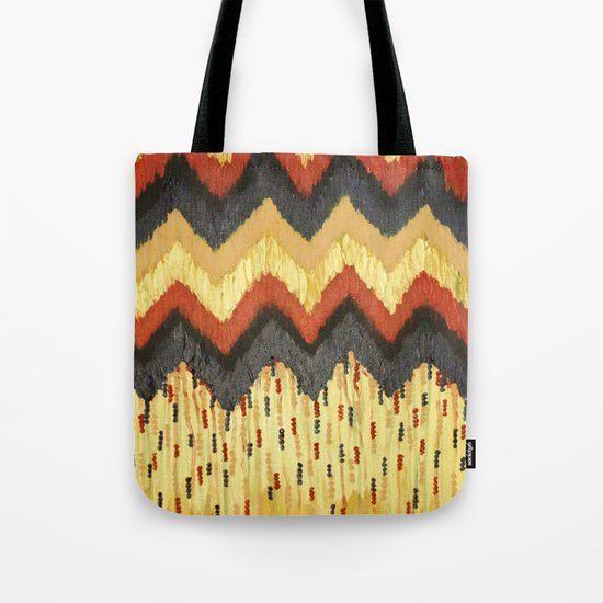 SHINE ON - Gold Glam Chevron Colorful Abstract Acrylic Pattern Painting Modern Home Decor Fine Art Tote Bag