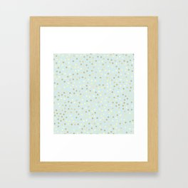 Baby Blue & Gold Polka Dots Framed Art Print