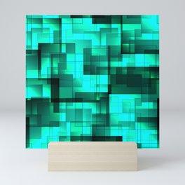 Mosaic of ocean blue volumetric squares with a shadow. Mini Art Print
