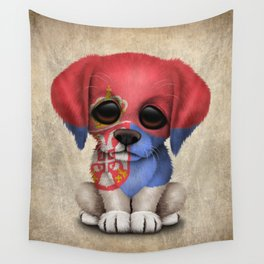 Cute Puppy Dog with flag of Serbia Wall Tapestry