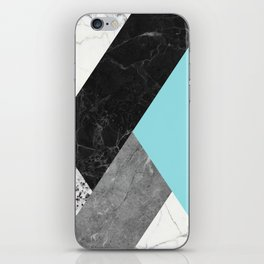 Black and White Marbles and Pantone Island Paradise Color iPhone Skin