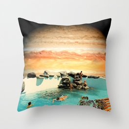 Galactic Space Pool Throw Pillow