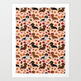 Dachshunds Autumn Cute florals pumpkin pinecones fall dogs cute doxie dog design Art Print