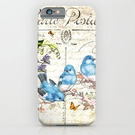 Vintage Postcard with Bluebirds iPhone Case
