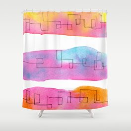 Love Is Always There line drawing pink abstract painting minimal illustration minimalism peaceful Shower Curtain
