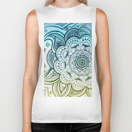 Mandala Blue Yellow Biker Tank