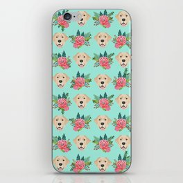 Yellow Labrador Retriever floral bouquet flowers yellow lab dog breed pattern gifts iPhone Skin