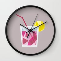 cocktail Wall Clocks featuring Cocktail by Alessandra Gagliano