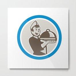 Waiter Serving Food on Platter Retro Metal Print