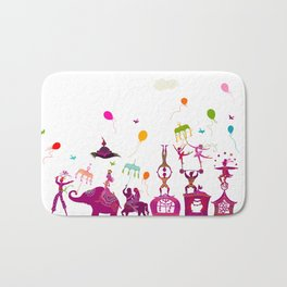 colorful circus carnival traveling in one row on white background Bath Mat