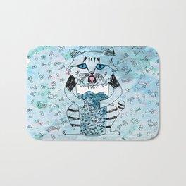 Emotional Cat. Graphic Blue. Bath Mat