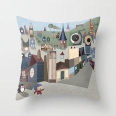 A Boy and his Penguin Throw Pillow
