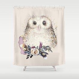 Boho Illustration- Be Wise Little Owl Shower Curtain