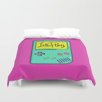gameboy Duvet Covers featuring Let's Play GameBoy by Chelsea Herrick