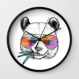 Panda Graphic Art Print. Panda in glasses Wall Clock