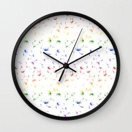 Dandelion Seeds Gay Pride (white background) Wall Clock