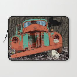 Rusted old truck, wolf skull, raven. Laptop Sleeve