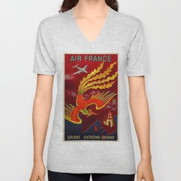 Vintage 1947 Air France for the Orient Extreme-Orient Advertisement Poster by Lucien Bouch Unisex V-Neck