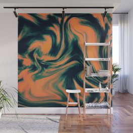 Abstract Painting Orange and Petrol  Wall Mural