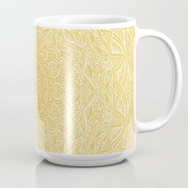 Most Detailed Mandala! Yellow Golden Color Intricate Detail Ethnic Mandalas Zentangle Maze Pattern Coffee Mug