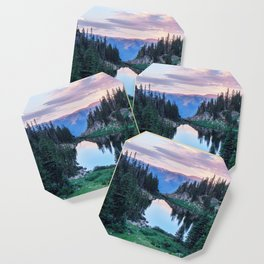 Hikers Bliss Perfect Scenic Nature View \ Mountain Lake Sunset Beautiful Backpacking Landscape Photo Coaster