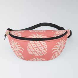 Retro Mid Century Modern Pineapple Pattern Coral 2 Fanny Pack