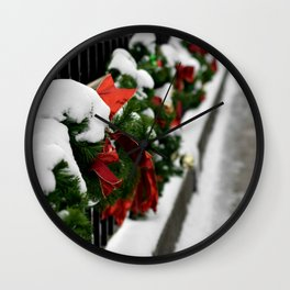 Snowy Evergreen Holiday Decorations Wall Clock