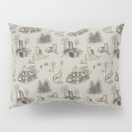 Eurasian Wolf Toile Pattern (Beige and Brown) Pillow Sham