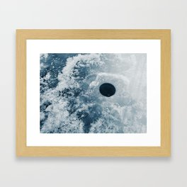 Ice Fishing Hole on Frozen Lake Framed Art Print
