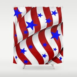 PATRIOTIC AMERICANA JULY 4TH BLUE STARS DECORATIVE ART Shower Curtain