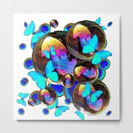 IRIDESCENT BLACK BUBBLES, BLUE BUTTERFLIES,PEACOCK ART Metal Print