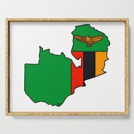 Zambia Map with Zambian Flag Serving Tray