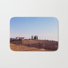 Winter morning in the vineyards of Collio, Italy Bath Mat